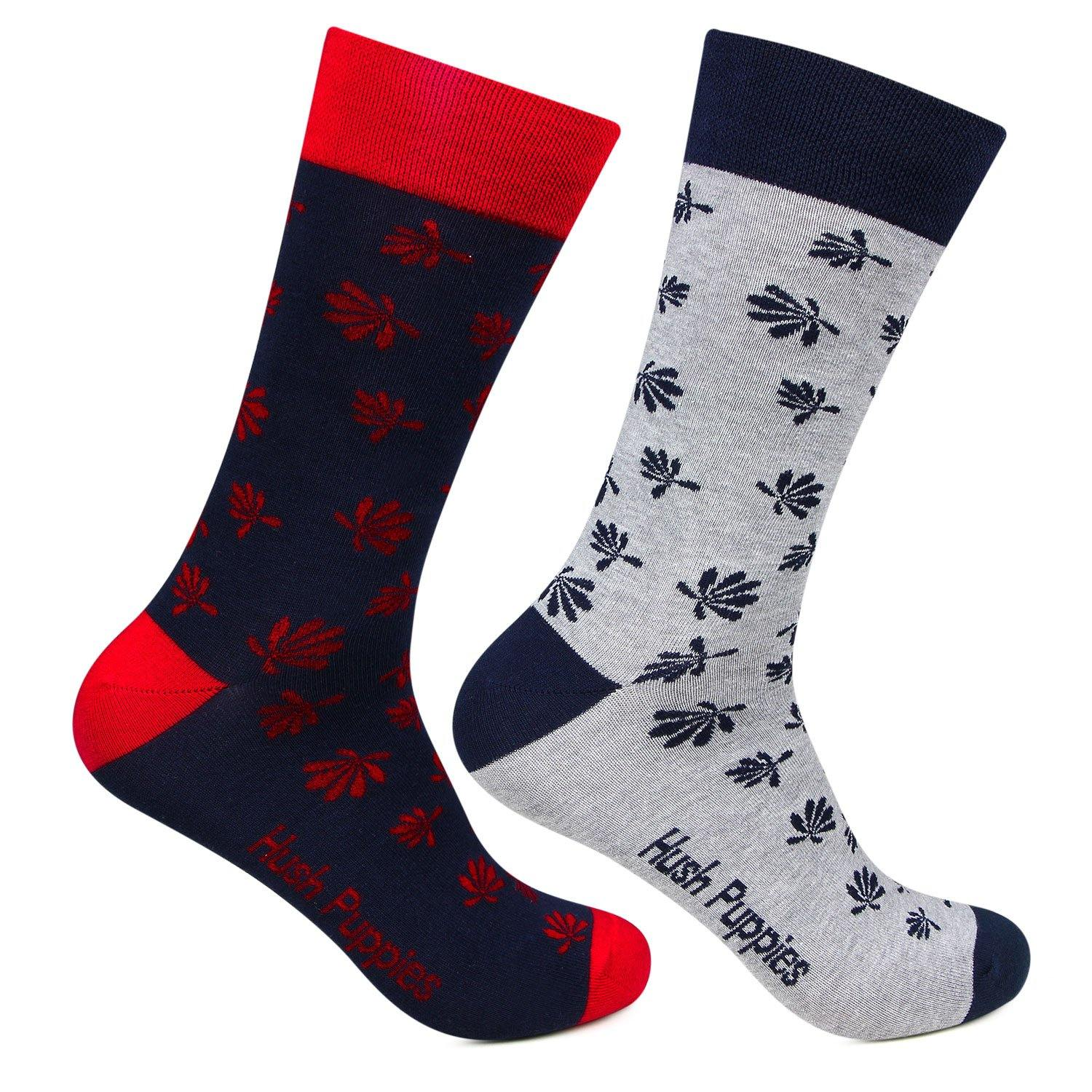 Hush Puppies Men's Multicoloured Floral Design Crew Socks - Pack of 2