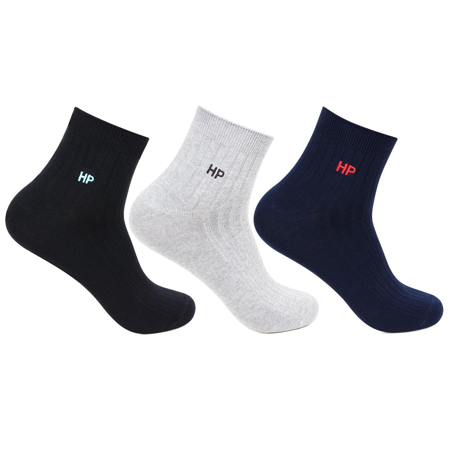 Hush Puppies Men's Cotton Ankle Rib Socks - Pack of 3