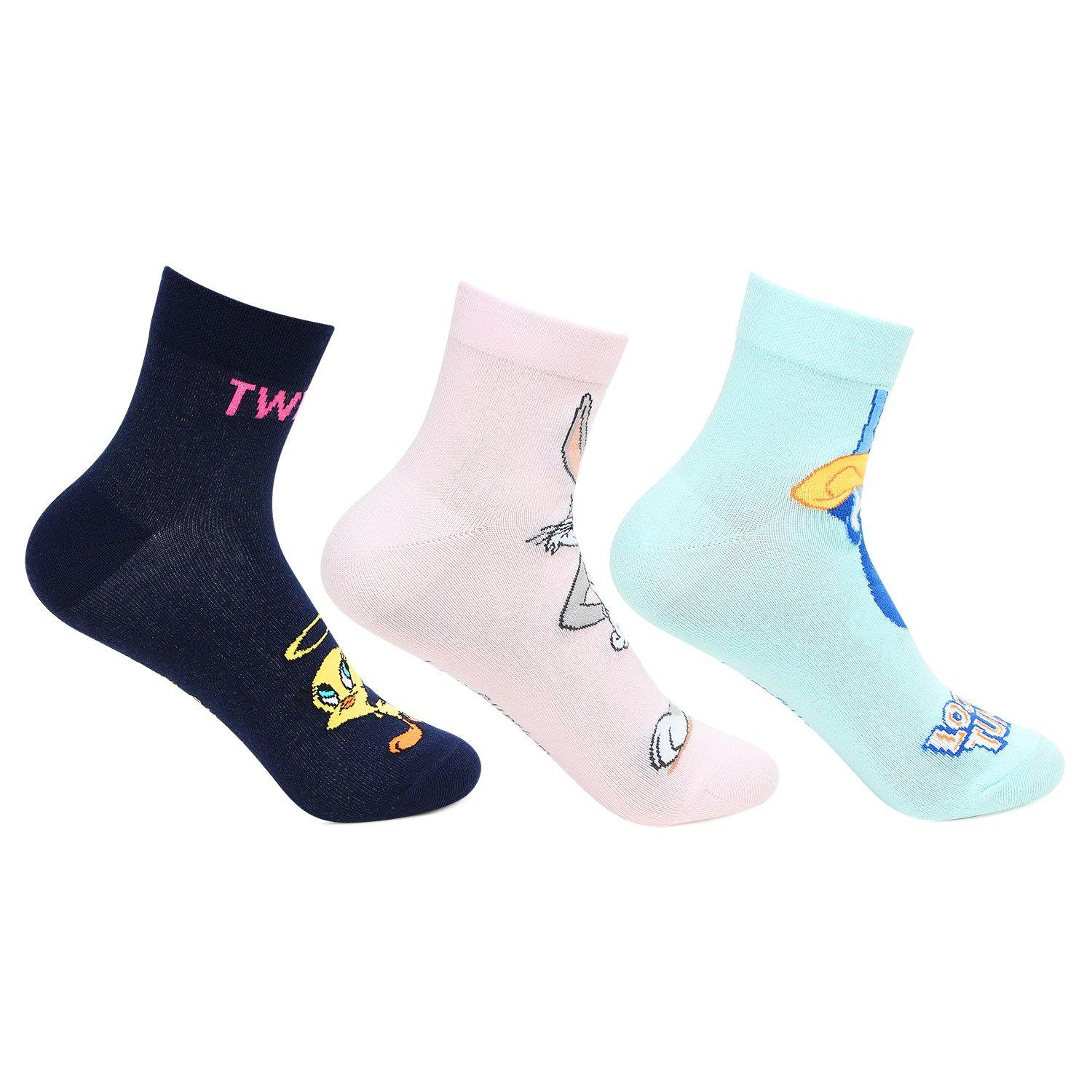 Looney Tunes Ankle Socks for Women - Pack of 3