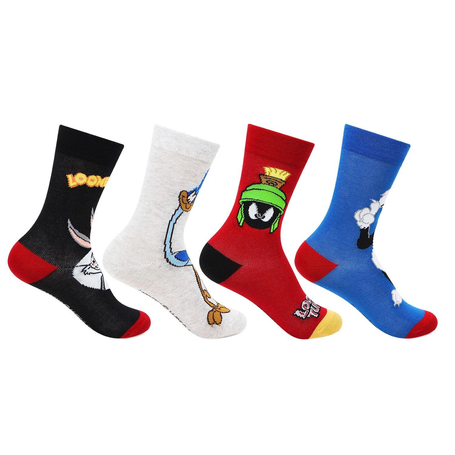 Loony Tunes Crew Socks for Kids- Pack of 4