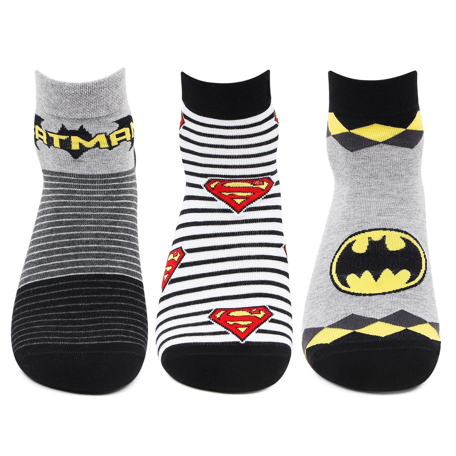 Superman Batman Ankle Socks for Men- Pack of 3