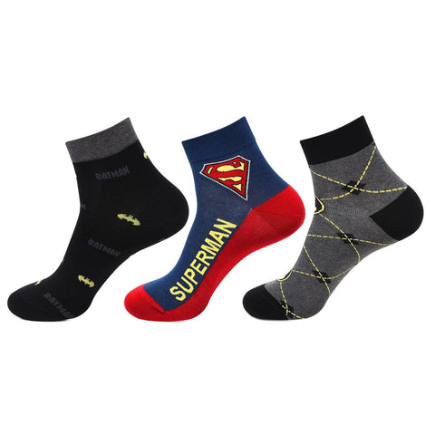 Superman and Batman Men's Ankle Socks - Pack of 3