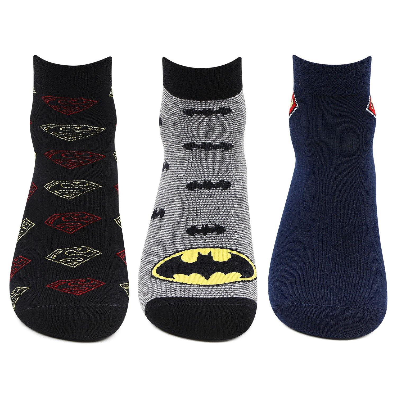Superman and Batman Ankle Socks for Men- Pack of 3