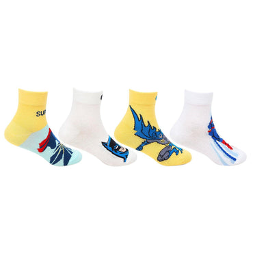 Superman Batman Ankle Socks for Kids - Pack of 4