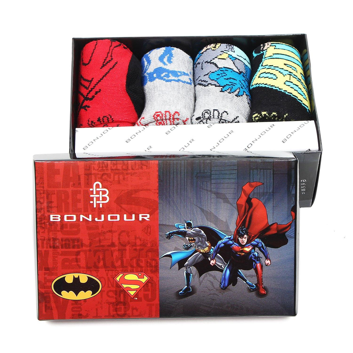 Superman Batman Ankle Socks for Kids - Pack of 4 - Bonjour Group
