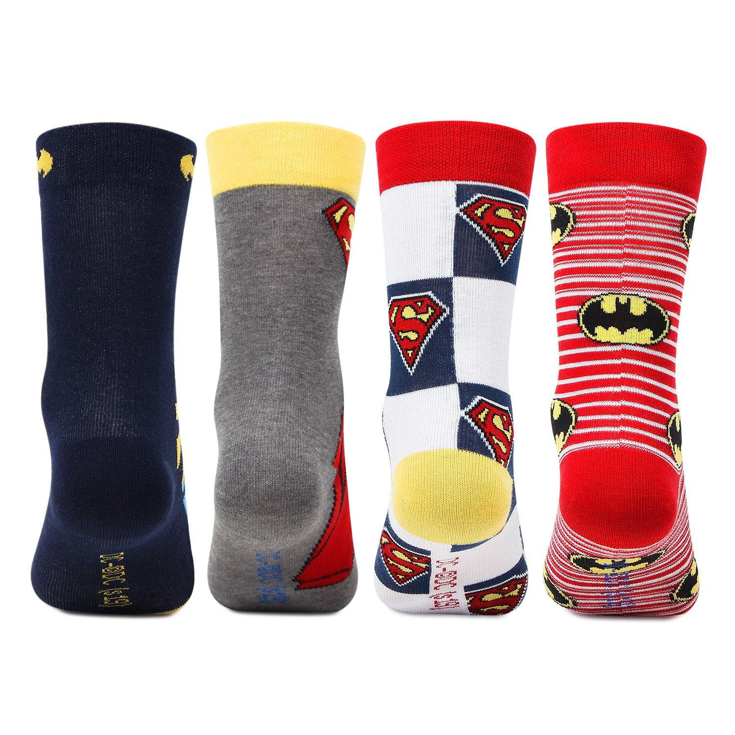 Superman Batman Crew Socks for Kids-  Pack of 4