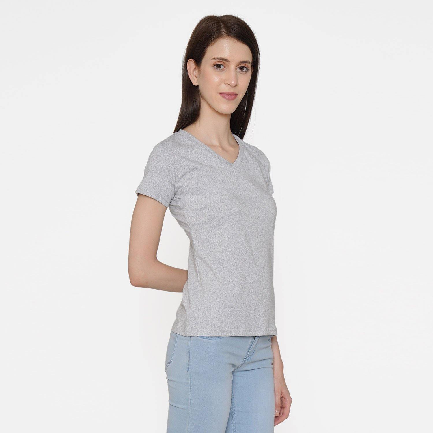 Plain Casual Half Sleeve Women's T-Shirt For Summer - Light Grey