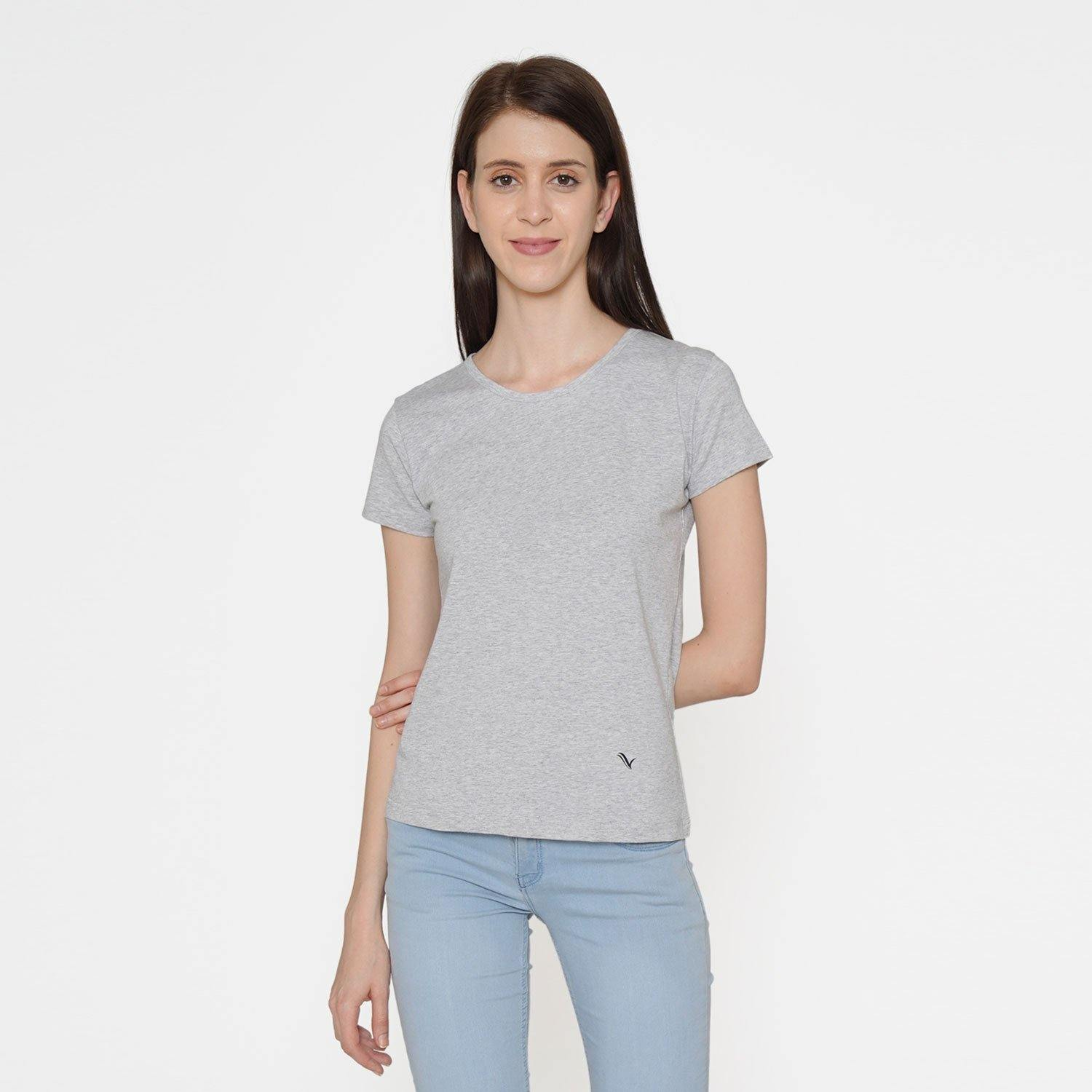 Plain Casual Half Sleeve Women's T-Shirt For Summer With Round Neck- Light Grey