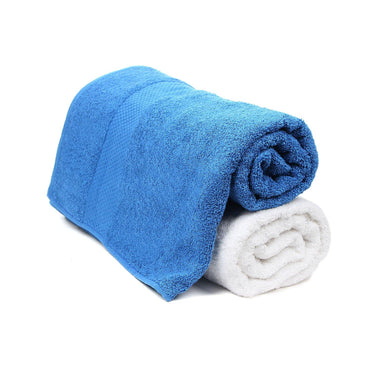 Bath Towel Set for Men-Blue & White-Pack Of 2