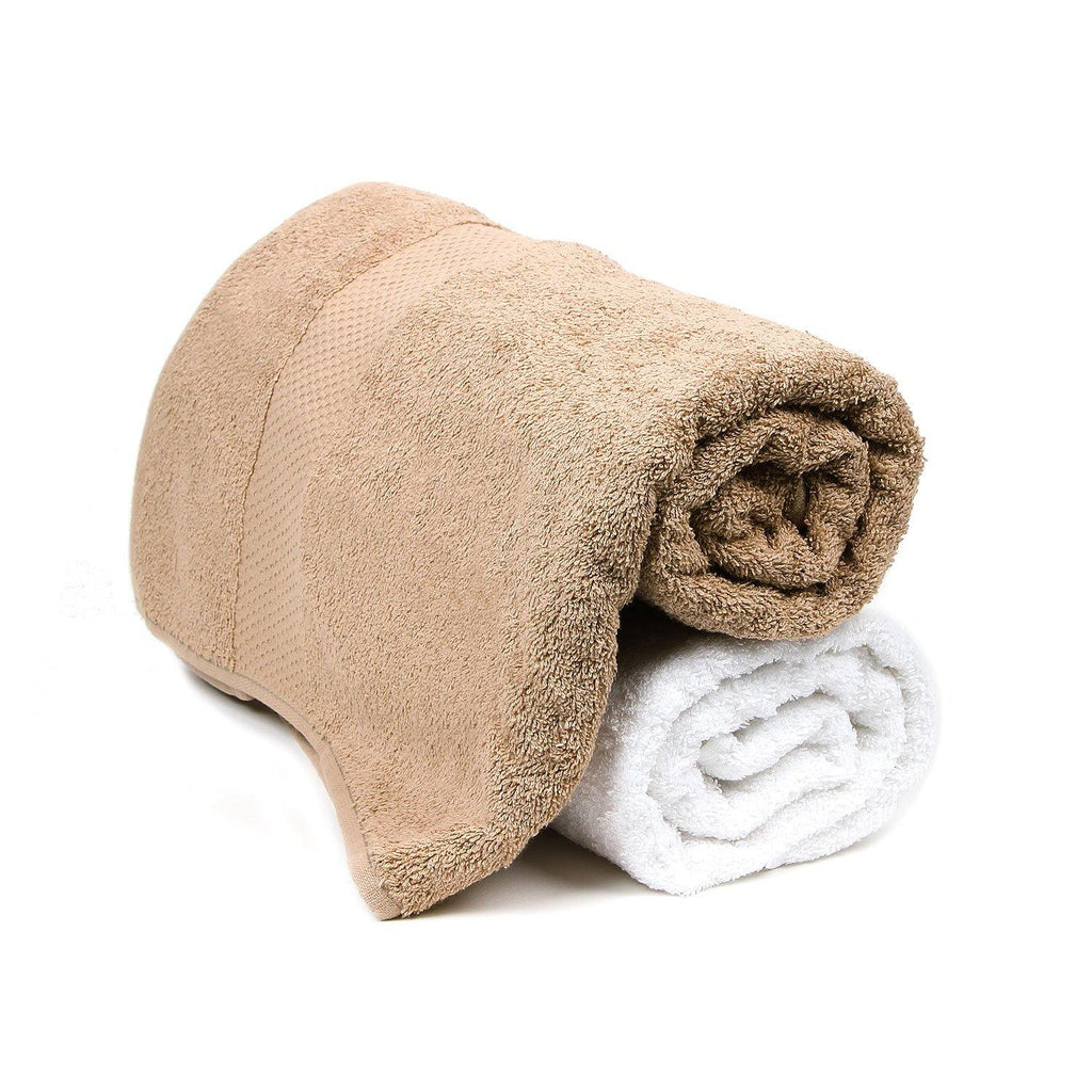 Bath Towel Set for Women-Brown & White-Pack of 2