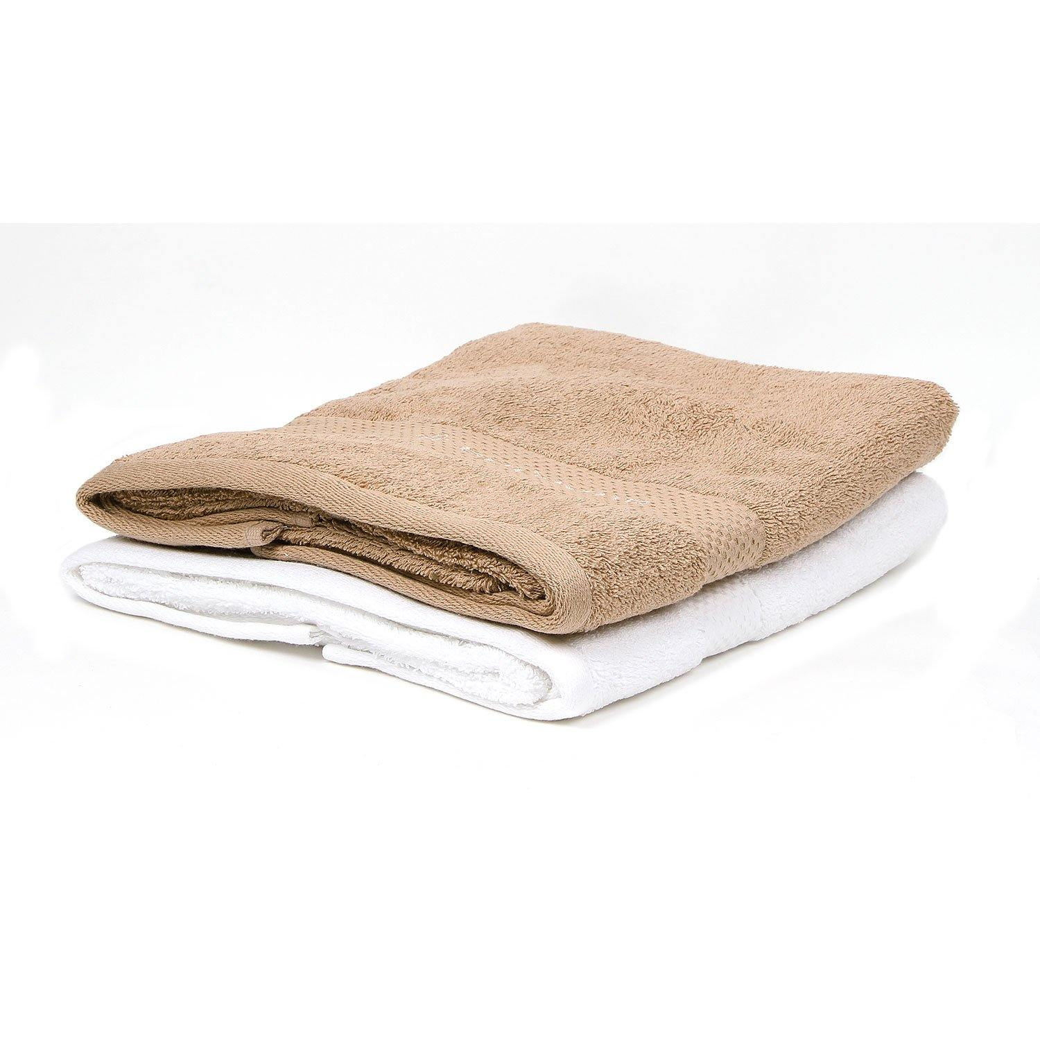 Bath Towel Set for Men-Brown & White-Pack Of 2