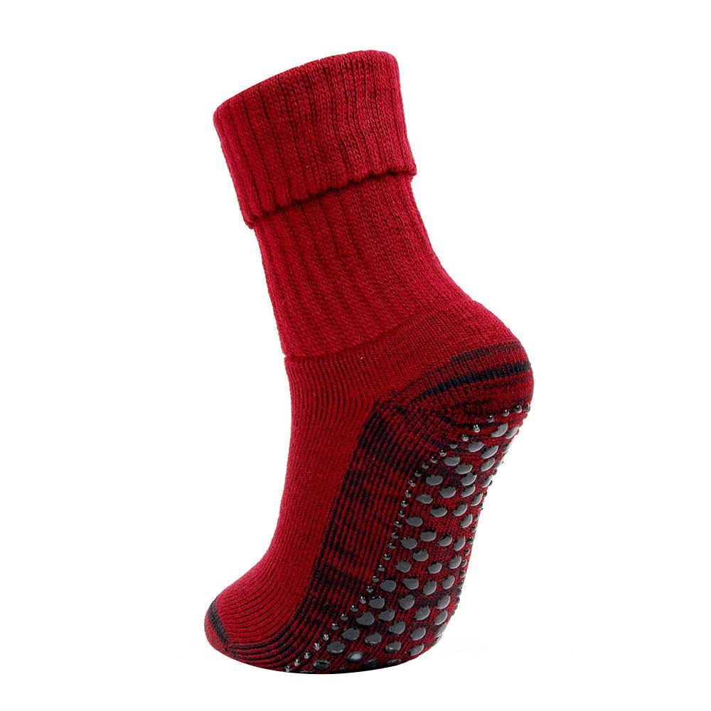 Women's Woolen Anti-Skid (Gripper) Indoor Socks - Maroon