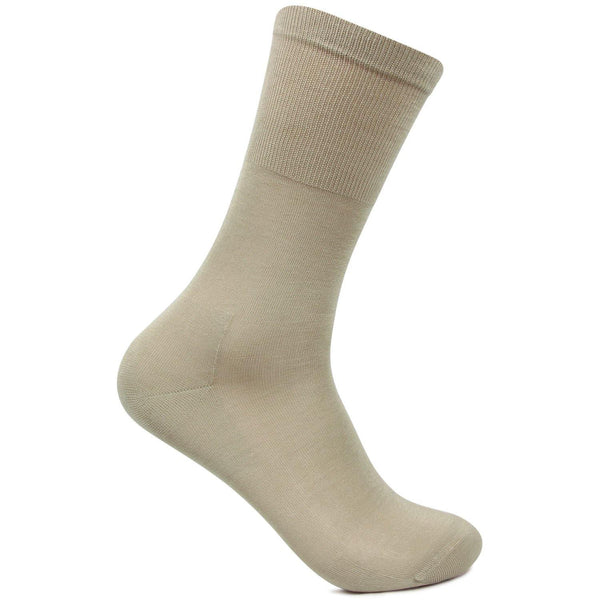Men's Premium Signature Feather lite Embroidered Beige Socks