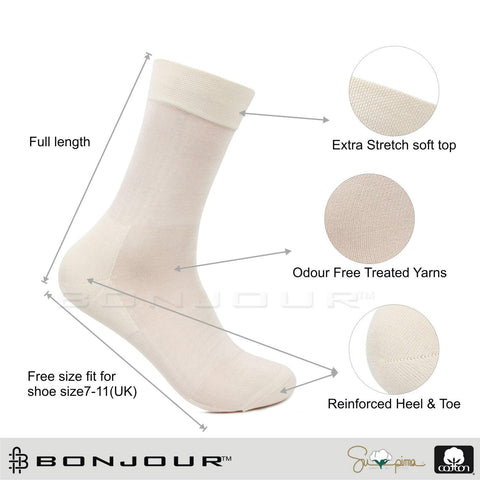 Men's Premium Signature Cotton Rich Embroidered Full Length Socks (Cream)