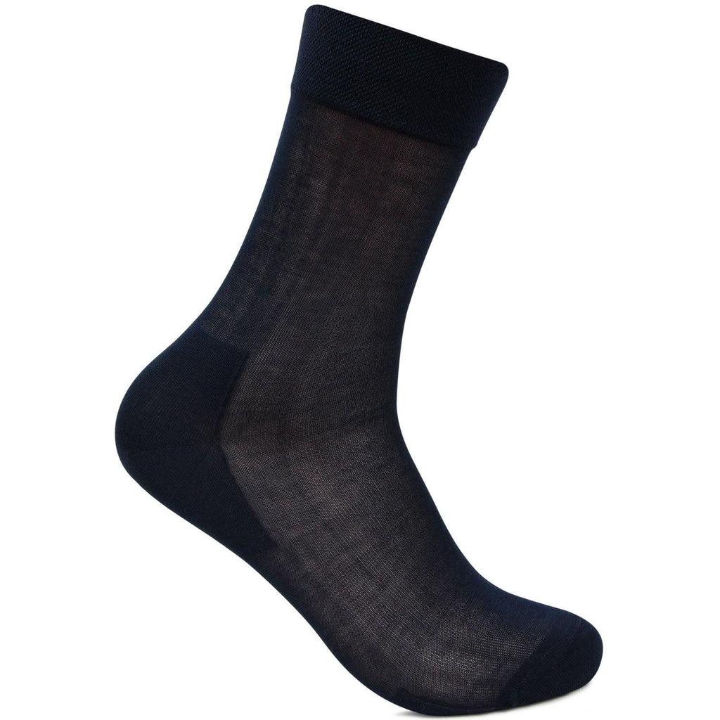 Men's Premium Signature Cotton Rich Embroidered Full-Length Socks (Navy)