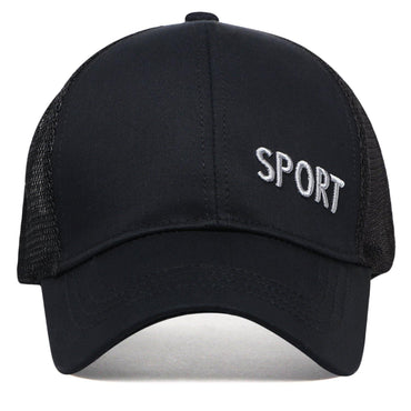 Plain Cotton Adjustable Summer Sports Cap for Men - Black