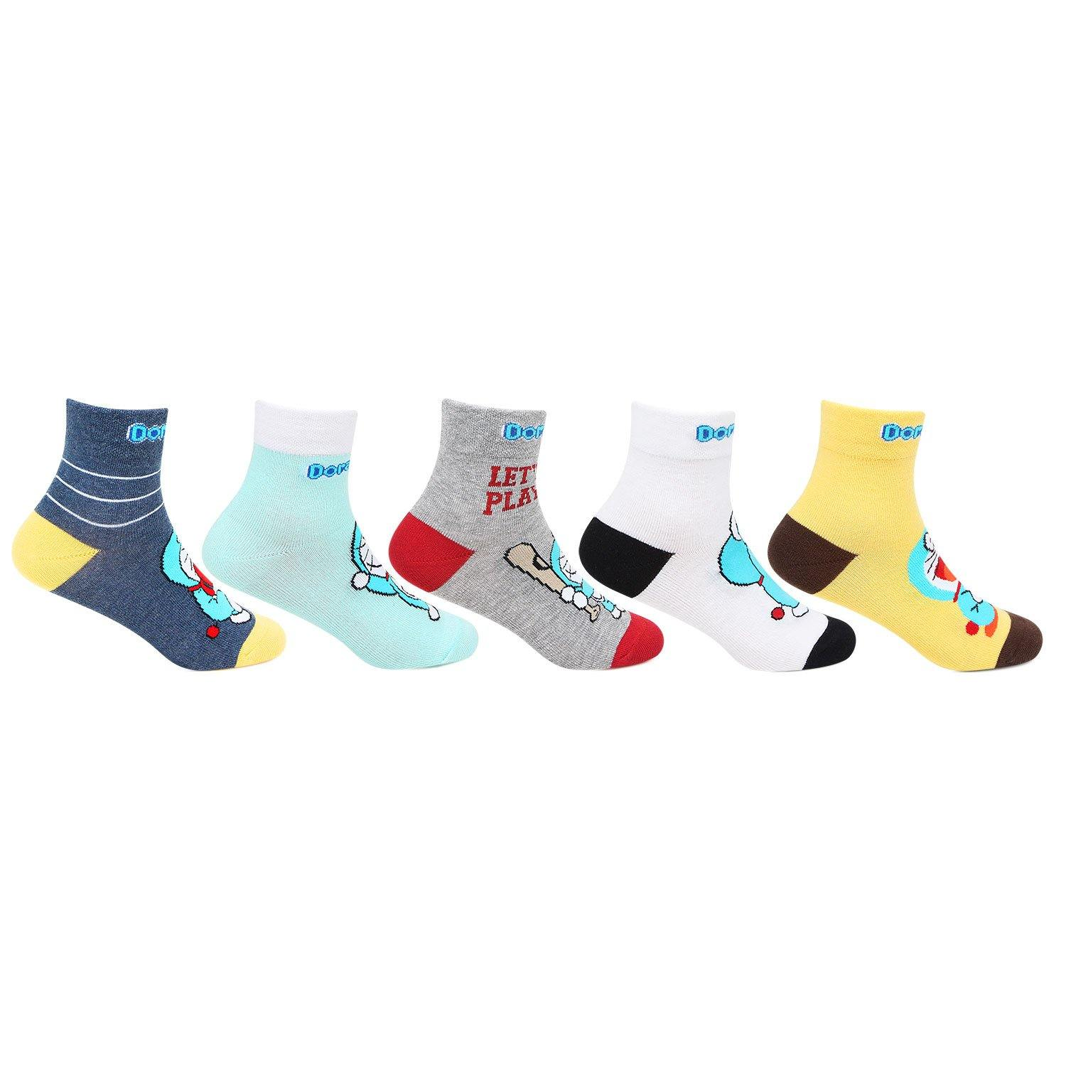 Doraemon Multicolored Socks For Kids  - Pack Of 5