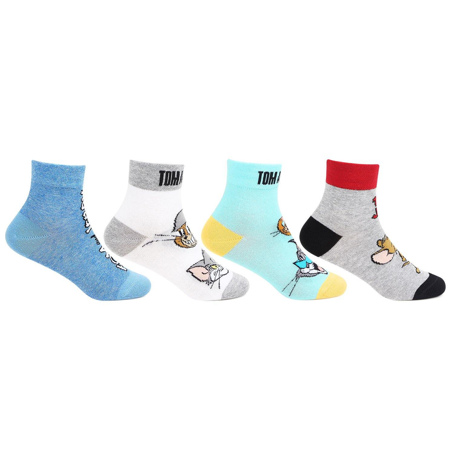 Tom & Jerry Multi color Ankle Socks For Kids -Pack Of 4