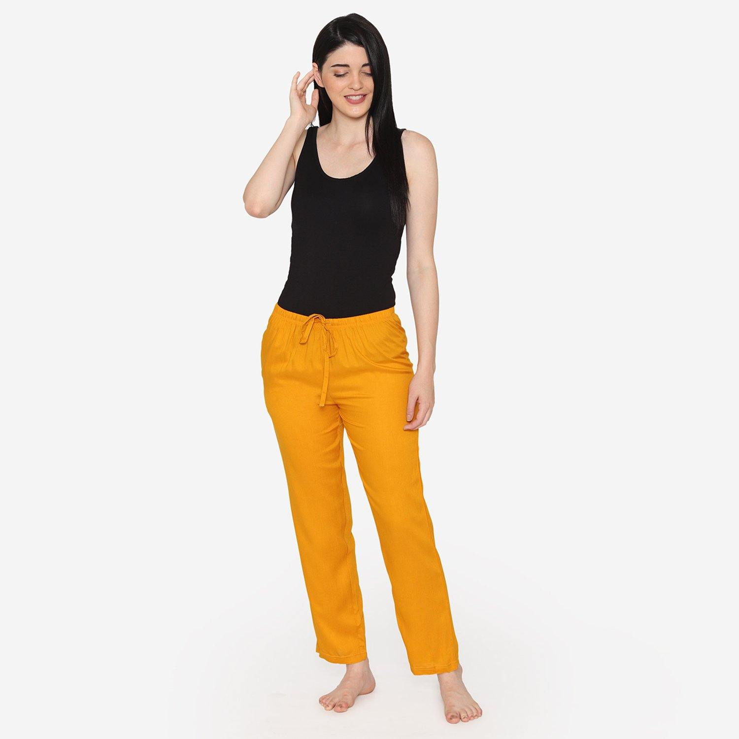 Women's Plain Lower With Drawstring - Mustard
