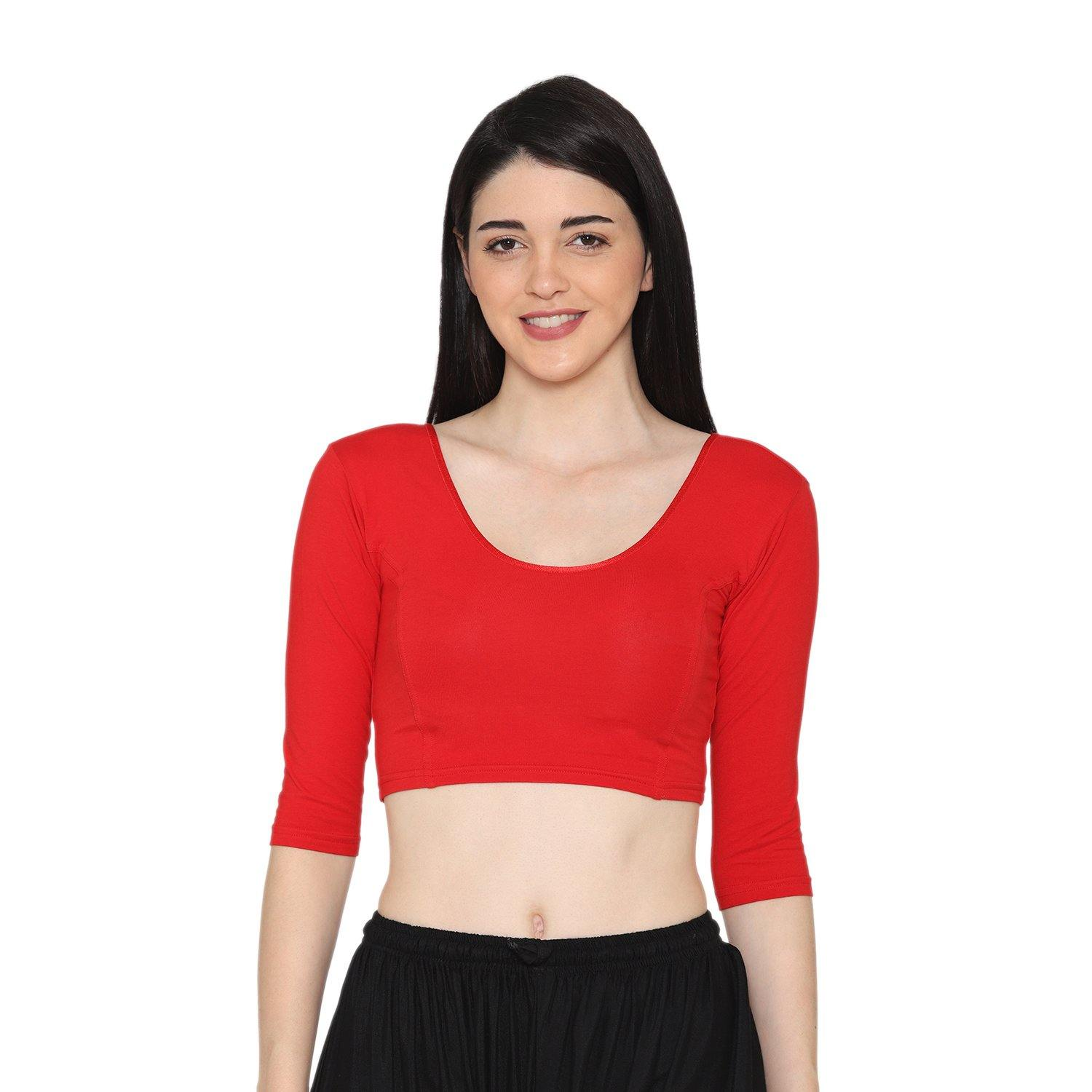 Red Color Half Sleeves Blouse For Women