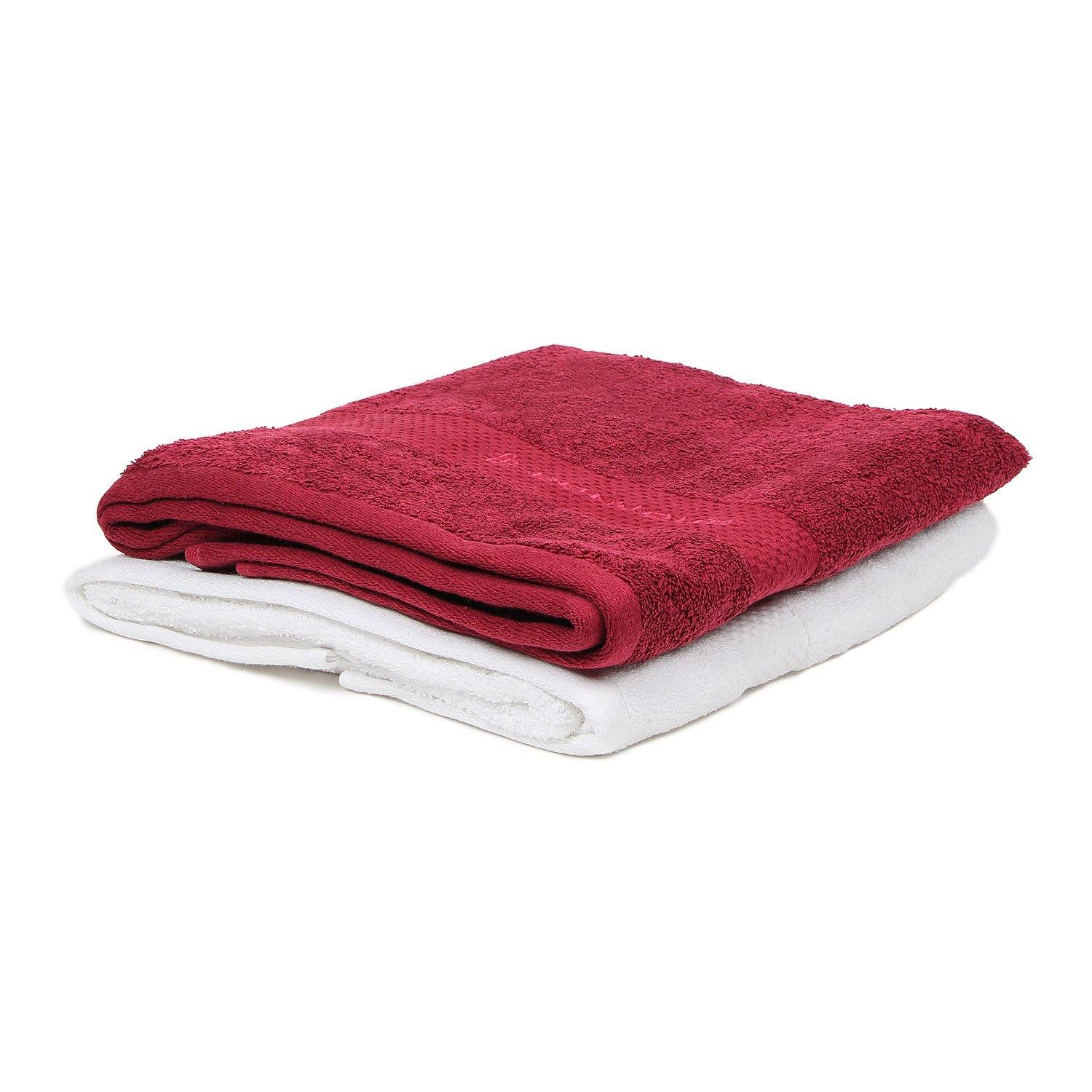 Bath Towel Set for Men-Maroon & White-Pack Of 2