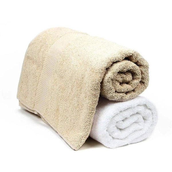 Bath Towel Set for Men-Skin & White-Pack Of 2
