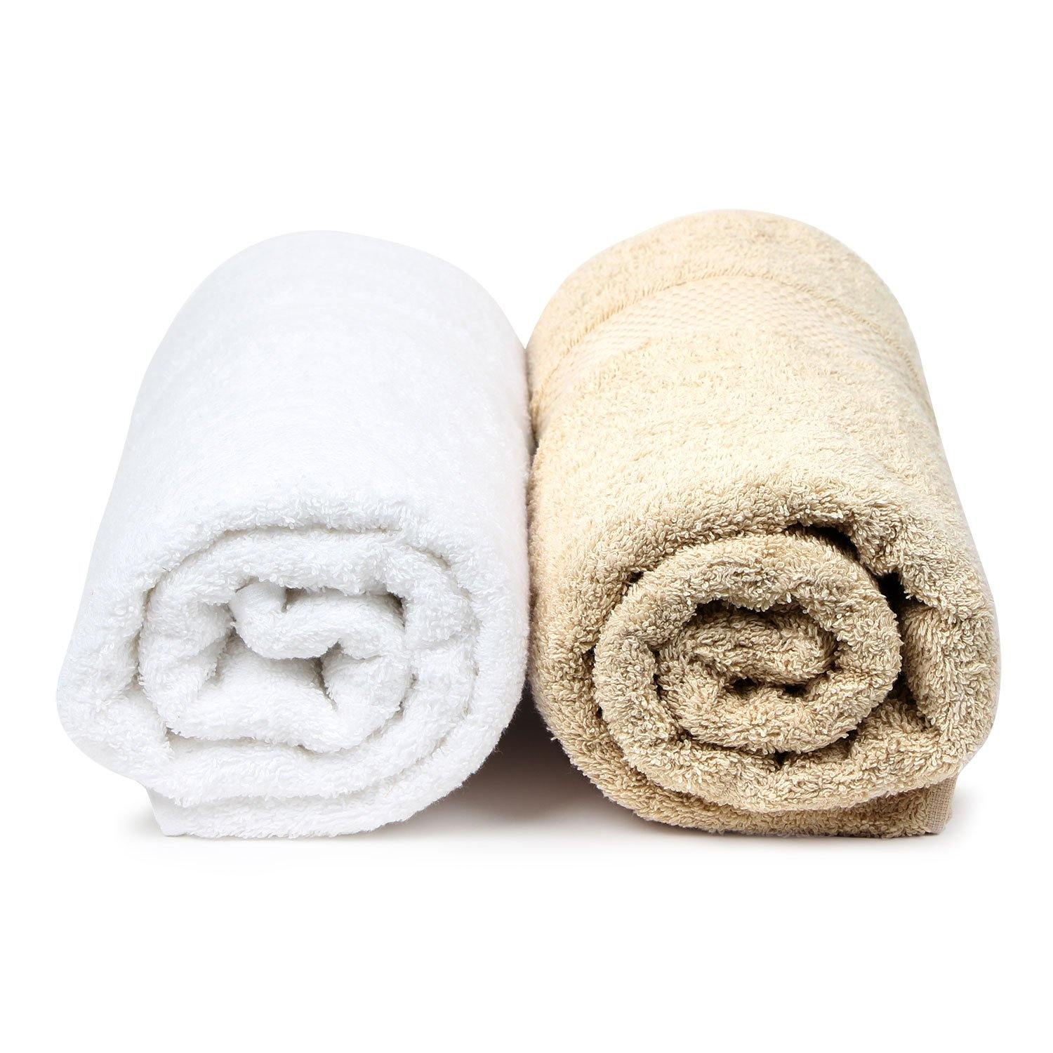 Bath Towel Set for Women-Skin & White-Pack of 2