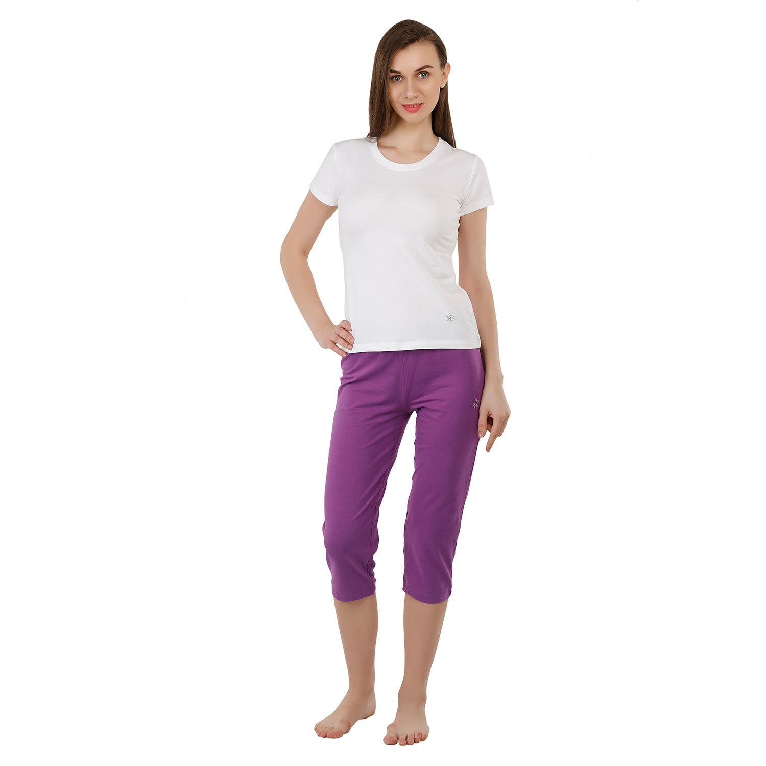 Women's Plain Knitted Capri - Blue - Bonjour Group