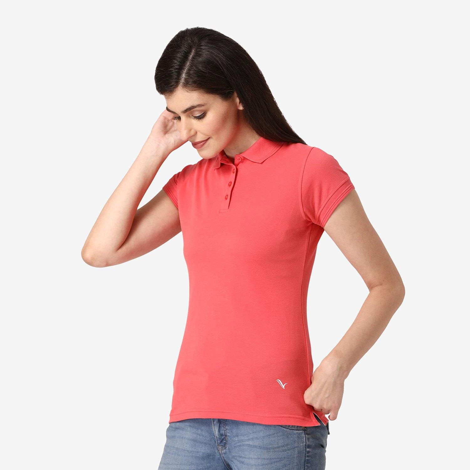 Women's Half Sleeve Casual Polo T-Shirt - Cayenne