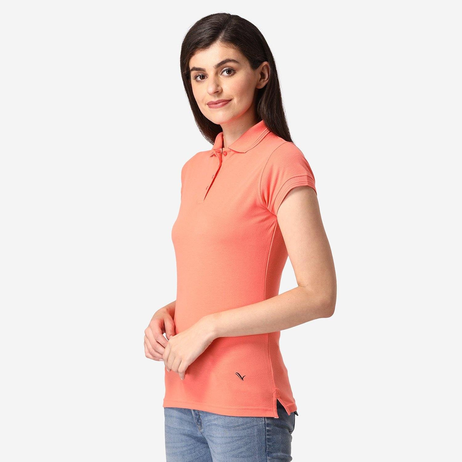 Women's Half Sleeve Polo T-Shirt  - Salmon