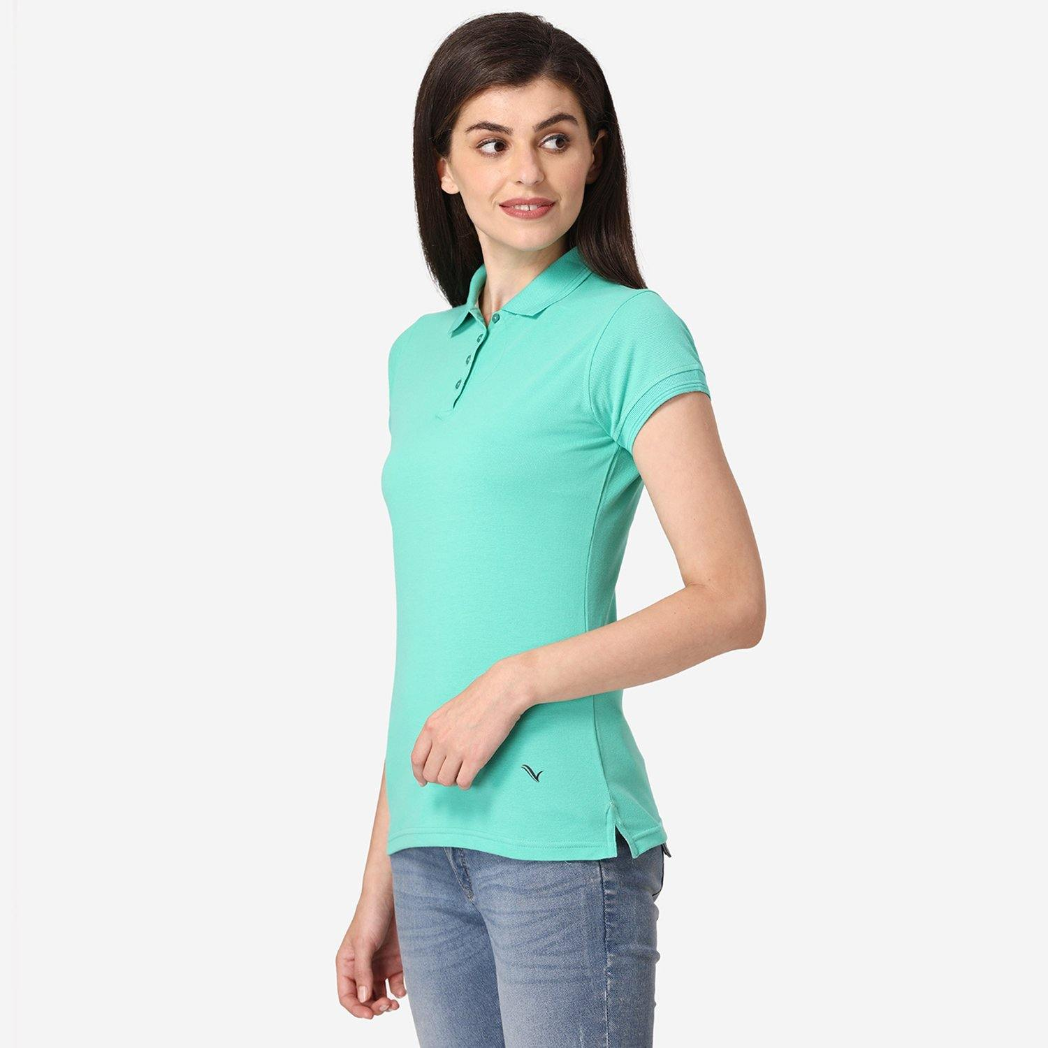 Women's Half Sleeve Polo T-Shirt - Mint Leaf