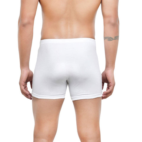 Men's Mid-Rise Classic Cotton Trunks in White - Pack of 2