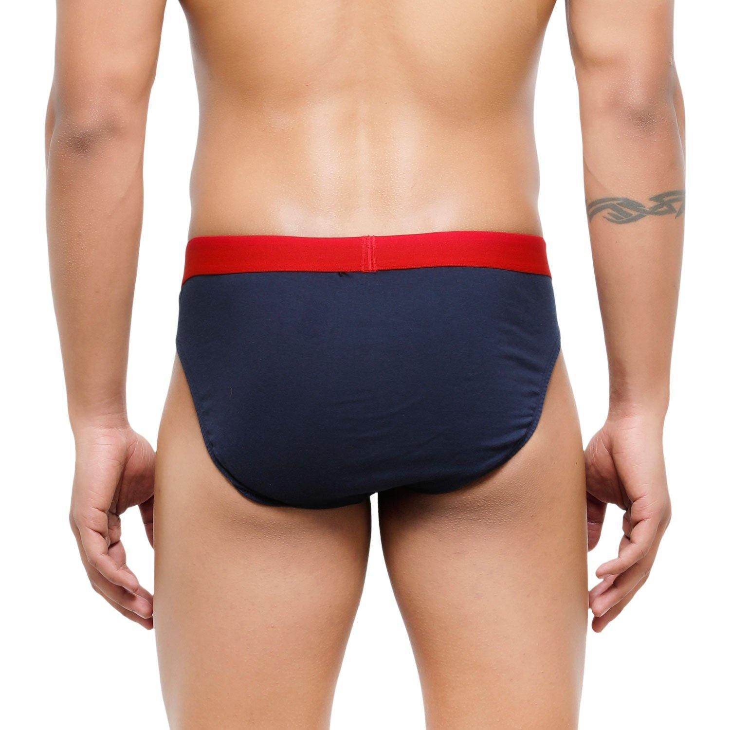 Men's Low-Rise Premia Cotton Briefs With Elasticated Band - Navy