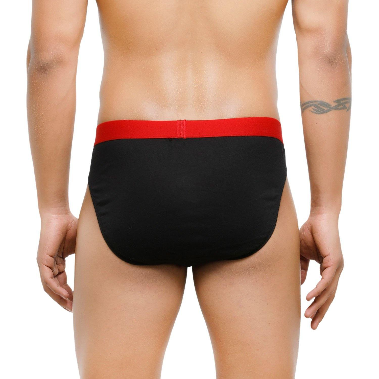 Men's Low-Rise Premia Cotton Briefs With Elasticated Band - Black