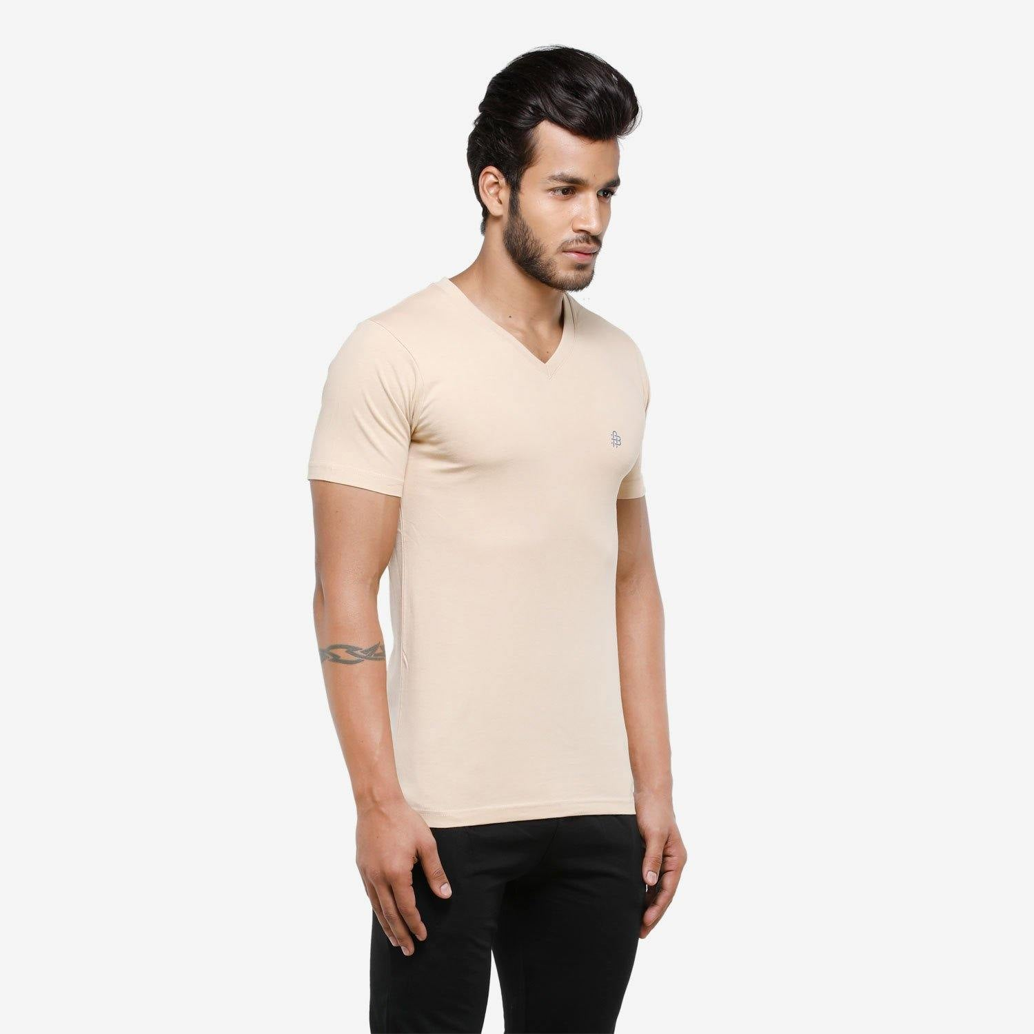 Men's Plain Half Sleeve Casual V-Neck  T-Shirt For Summer