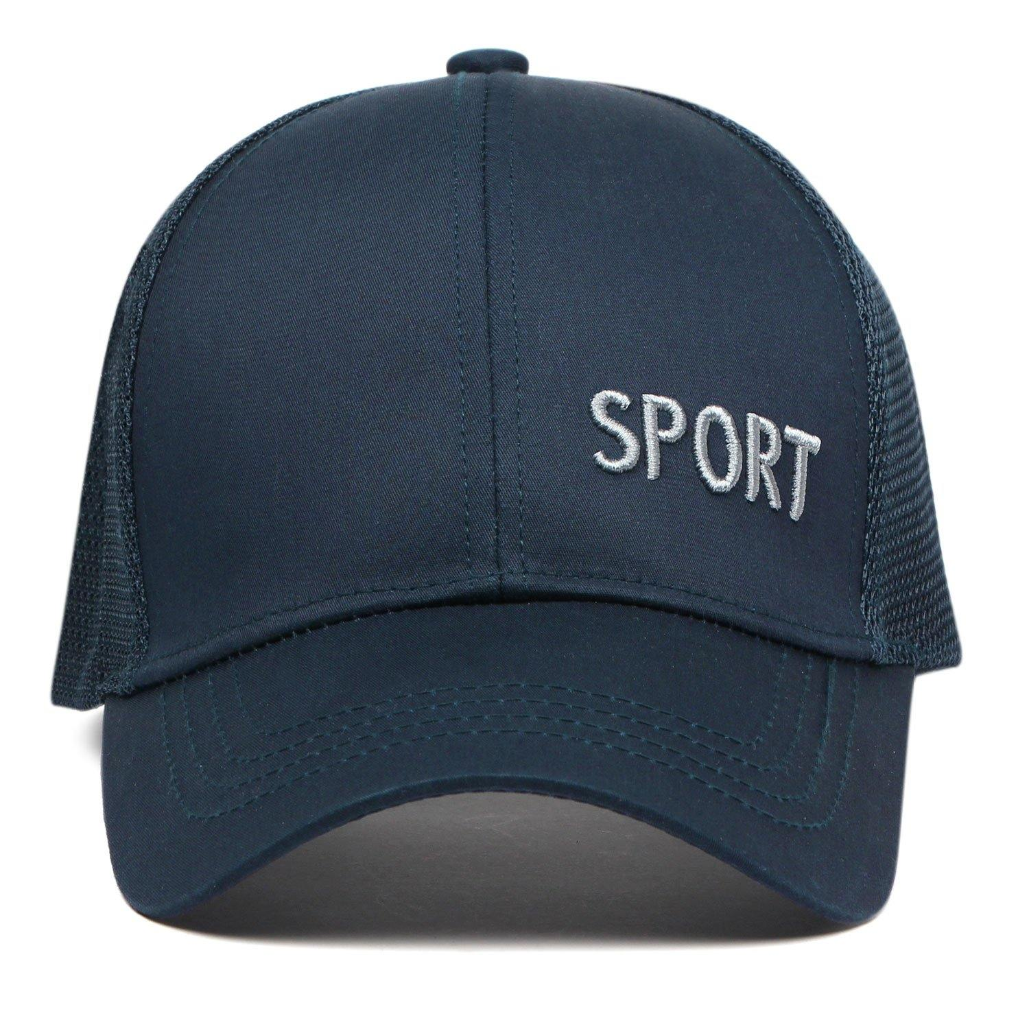 Plain Cotton Adjustable Summer Sports Cap for Men - Navy - Bonjour Group