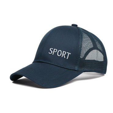 Plain Cotton Adjustable Summer Sports Cap for Men - Navy