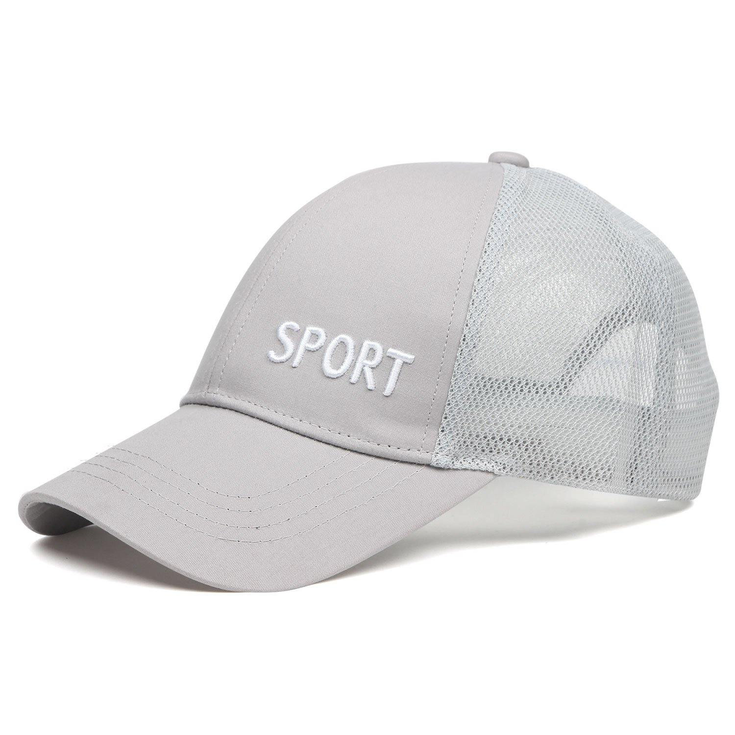 Plain Cotton Adjustable Summer Sports Cap for Men - Light Grey