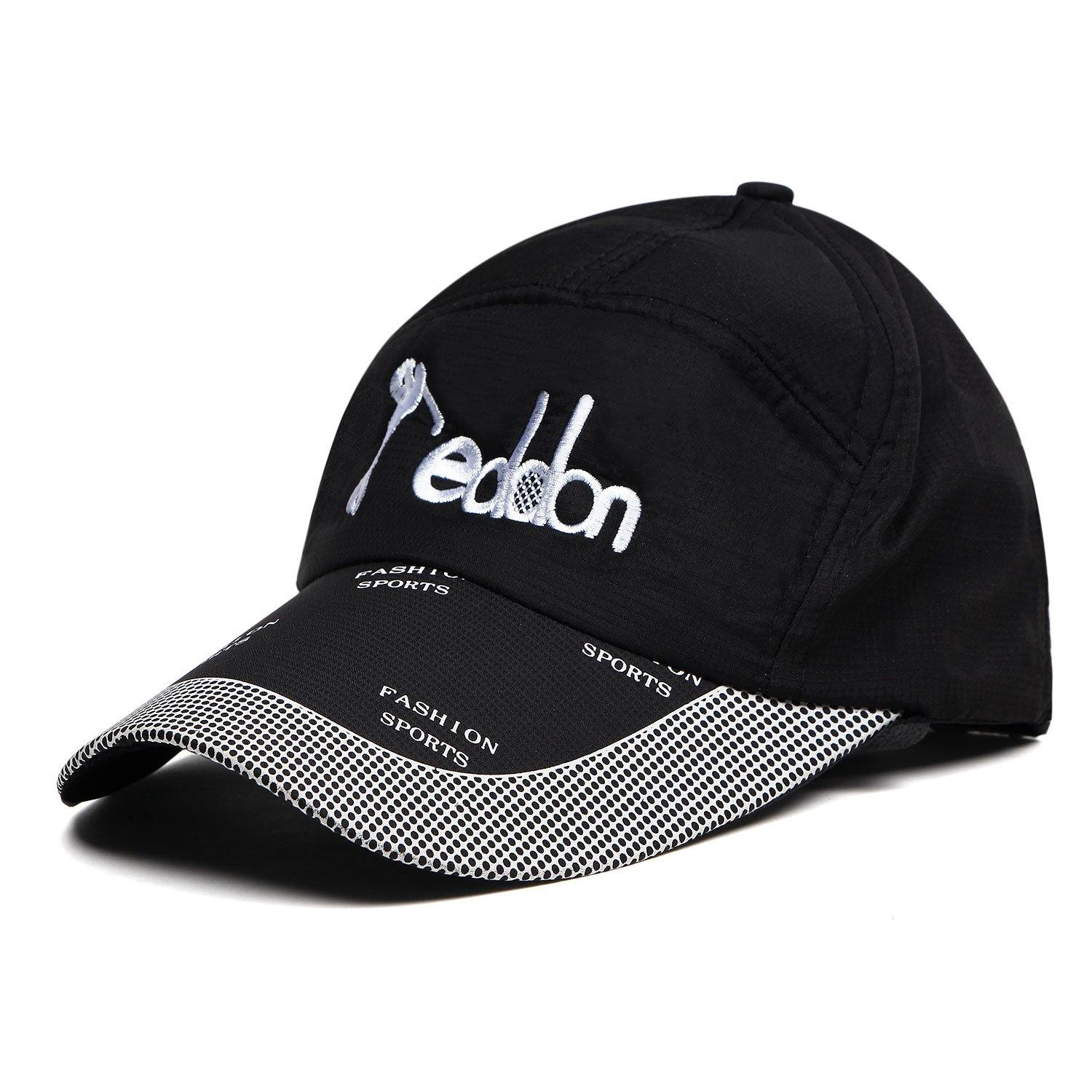 Fashionable Cotton Adjustable Summer Sports Cap with Stylish Brim For Men - Black