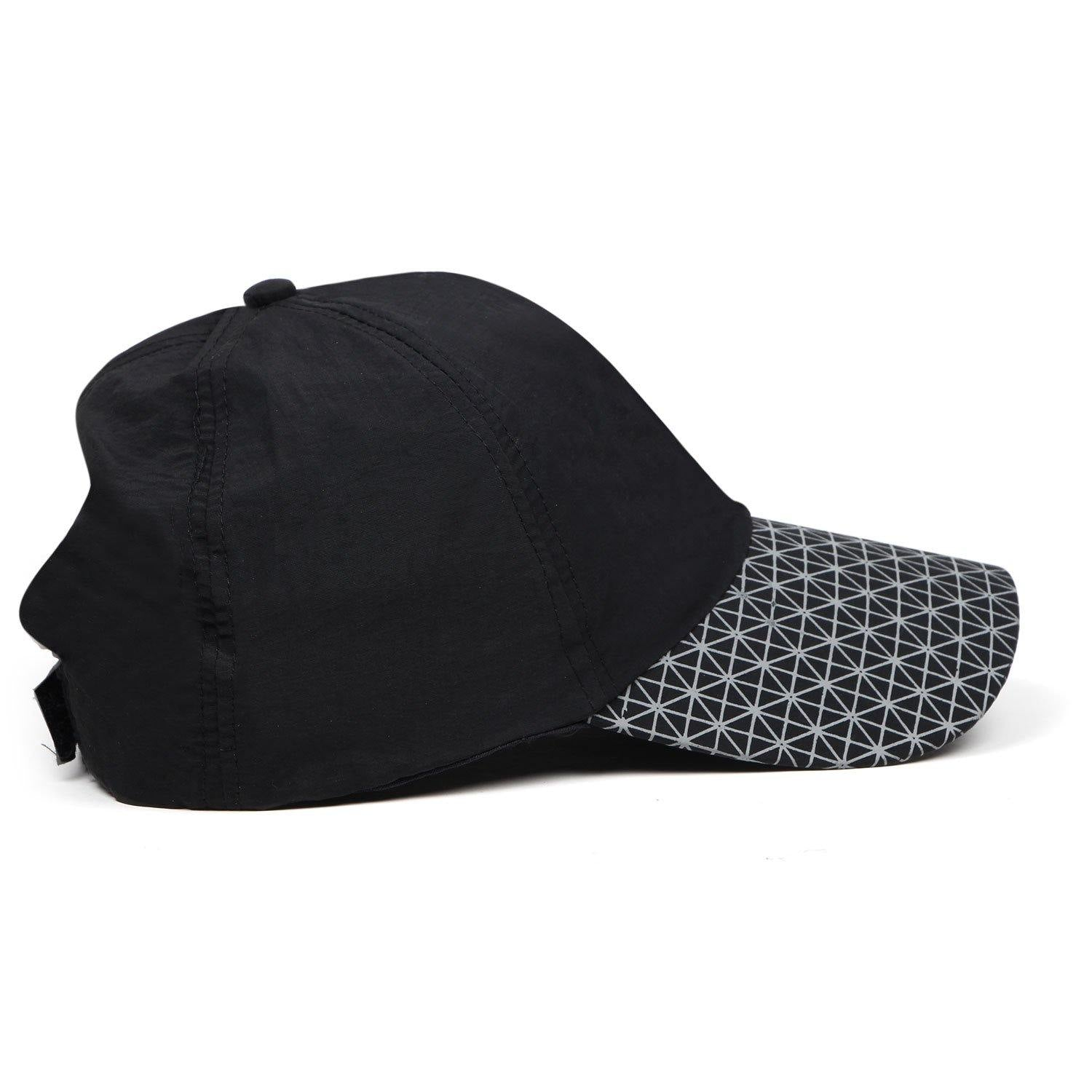 Solid Cotton Adjustable Summer sports Cap for Men - Black