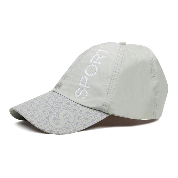 Solid Cotton Adjustable Summer sports Cap for Men - Light Grey
