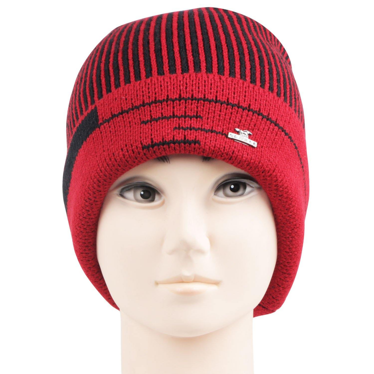 Men's Knitted Woolen Cap For Winters - Red