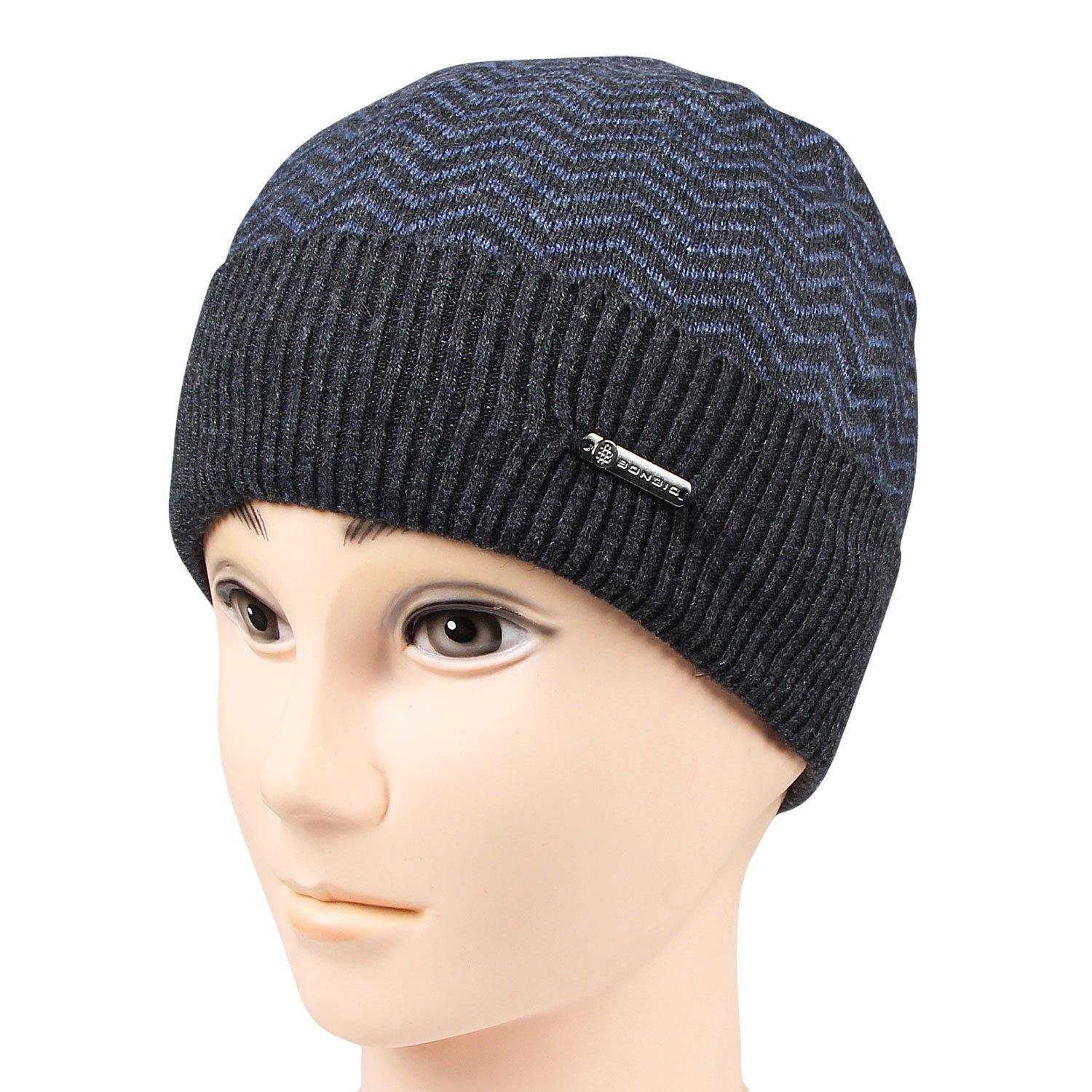 Men's Knitted Woolen Cap - Grey