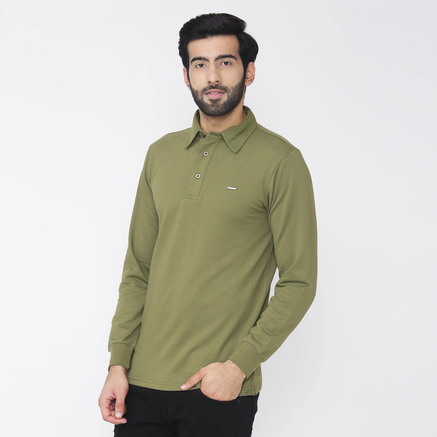 Men's Plain Winter Wear Polo Sweatshirt - Evergreen