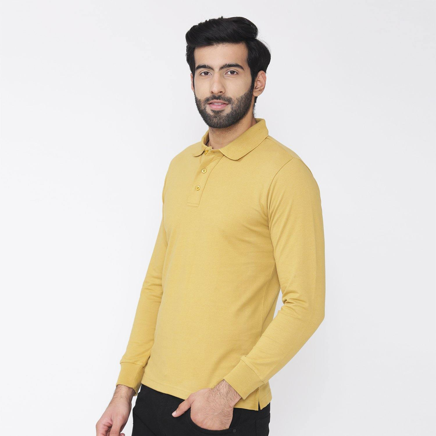 Men's Plain Winter Wear Polo Sweatshirt - Mustard Gold