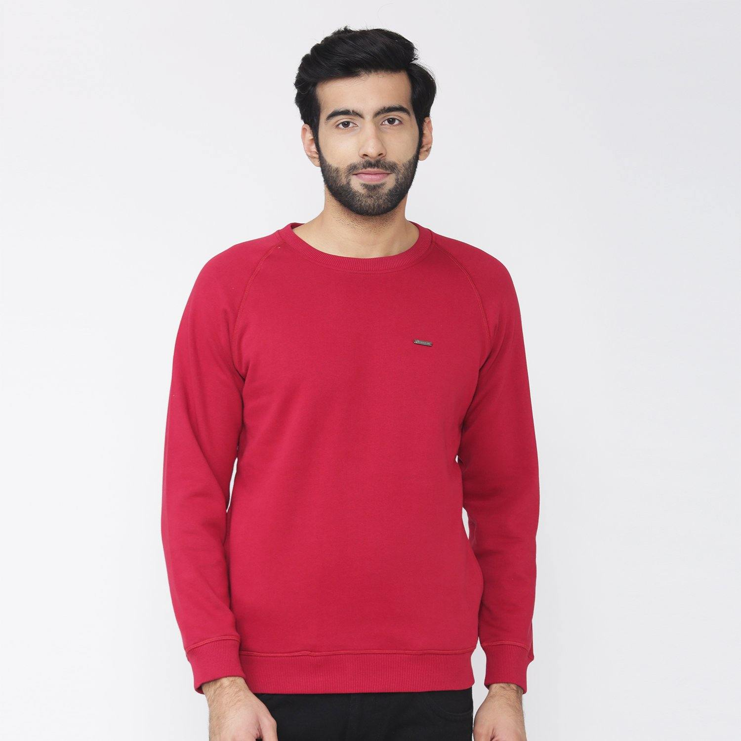 Men's Plain Winter Wear Sweatshirt - Biking Red