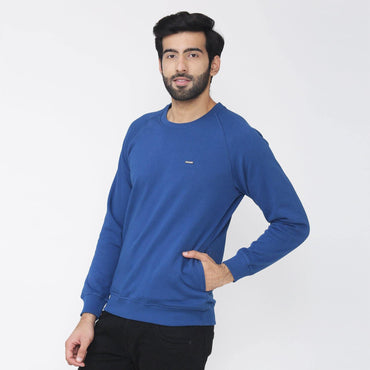 Men's Plain Winter Wear Sweatshirt - Dark Blue
