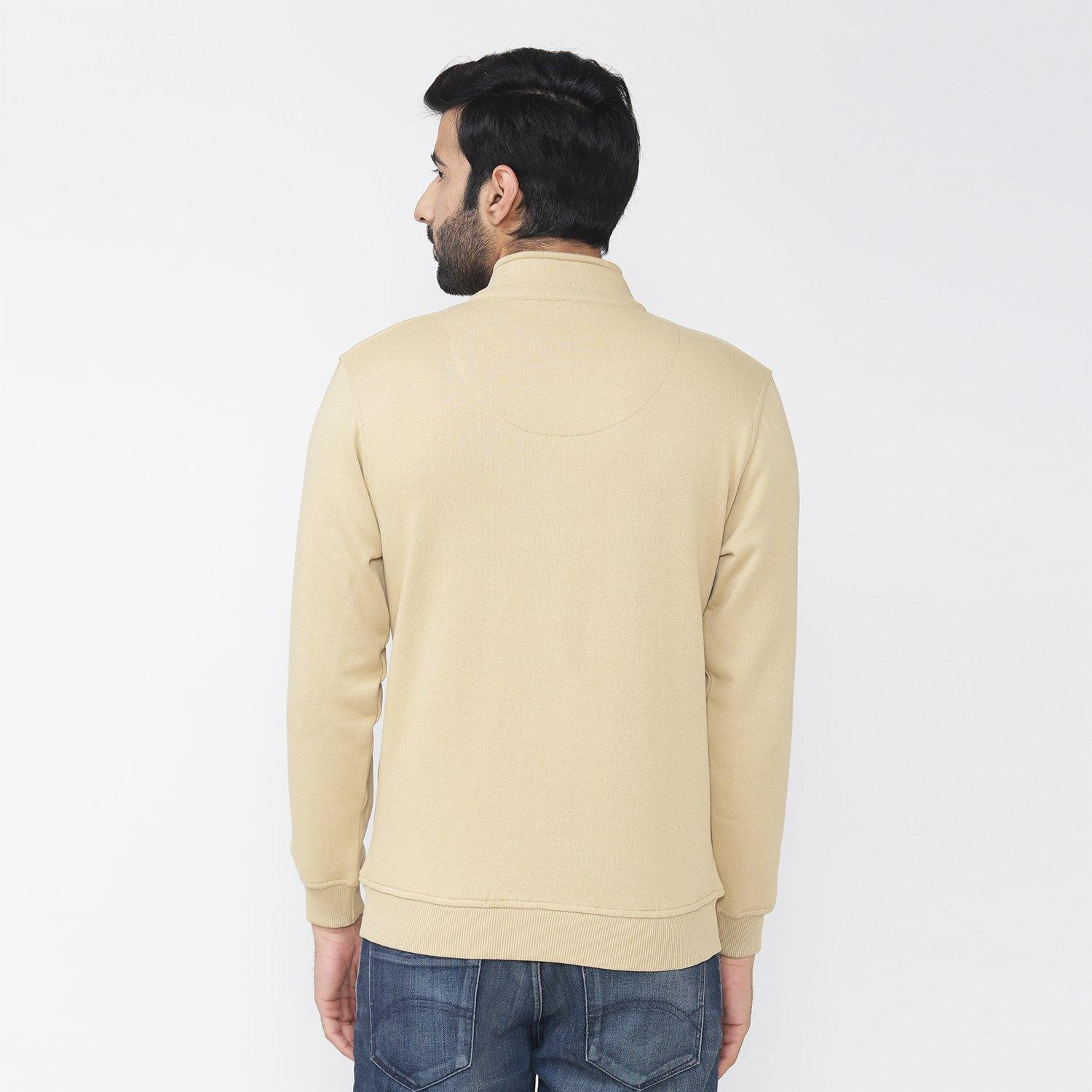 Men's Winter Wear Full Sleeve Plain Jacket - Beige