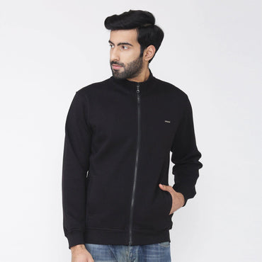 Men's Winter Wear Full Sleeve Plain Jacket - Classic Black