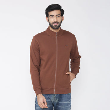 Men's Winter Wear Full Sleeve Plain Jacket -Brown